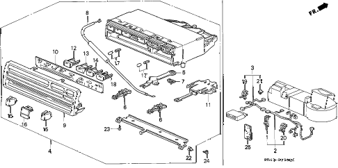 1995 civic LX 4 DOOR 5MT HEATER CONTROL diagram