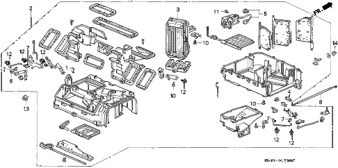 1994 civic LX 4 DOOR 5MT HEATER UNIT diagram