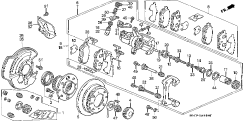 1994 civic LX(ABS) 4 DOOR 5MT REAR BRAKE (DISK) diagram