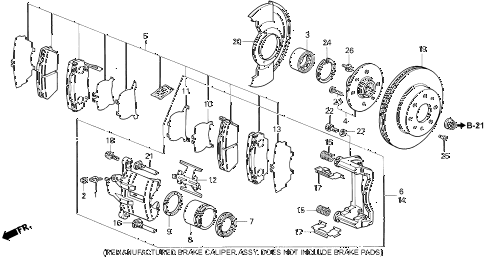 1993 civic EX(ABS) 4 DOOR 5MT FRONT BRAKE (2) diagram