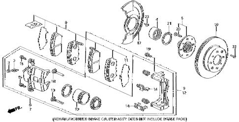 1994 civic LX(ABS) 4 DOOR 5MT FRONT BRAKE (3) diagram