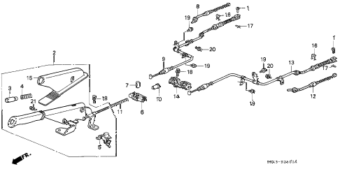 1995 civic EX(ABS) 4 DOOR 5MT PARKING BRAKE diagram