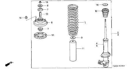 1993 civic EX(ABS) 4 DOOR 5MT FRONT SHOCK ABSORBER diagram