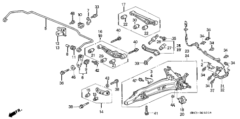 1993 civic LX 4 DOOR 4AT REAR LOWER ARM diagram