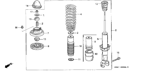 1993 civic DX 4 DOOR 4AT REAR SHOCK ABSORBER diagram