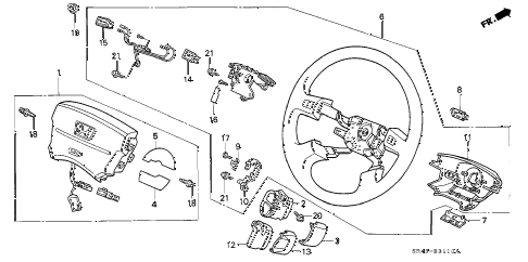 1994 civic LX(ABS) 4 DOOR 5MT STEERING WHEEL (3) (SRS) diagram