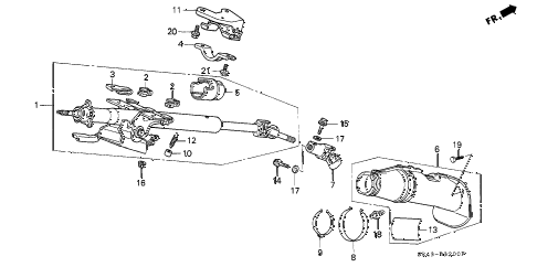 1992 civic LX 4 DOOR 5MT STEERING COLUMN diagram