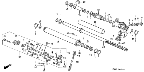 1995 civic LX 4 DOOR 5MT P.S. GEAR BOX COMPONENTS diagram
