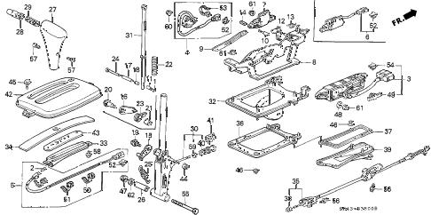 1992 civic DX 4 DOOR 4AT SELECT LEVER diagram