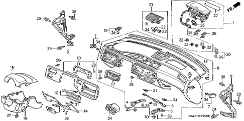 1994 civic LX 4 DOOR 5MT INSTRUMENT PANEL diagram