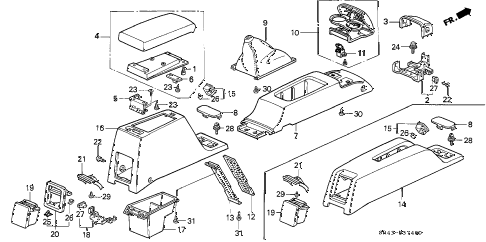 1994 civic LX 4 DOOR 5MT CONSOLE diagram