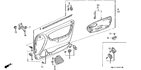 1992 civic DX 4 DOOR 5MT FRONT DOOR LINING diagram