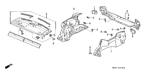 1993 civic LX 4 DOOR 4AT REAR TRAY - TRUNK GARNISH diagram