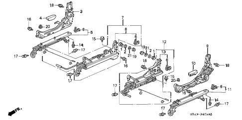 1995 civic LX 4 DOOR 5MT FRONT SEAT COMPONENTS diagram
