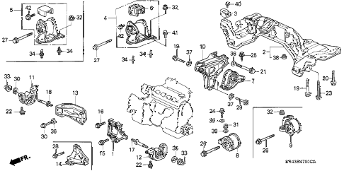 1993 civic DX 4 DOOR 5MT ENGINE MOUNT (1) diagram