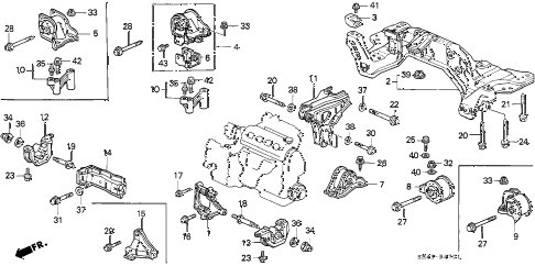 1995 civic LX 4 DOOR 4AT ENGINE MOUNT (2) diagram