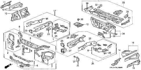1992 civic DX 4 DOOR 5MT FRONT BULKHEAD diagram