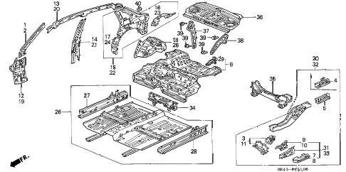 1995 civic EX(ABS) 4 DOOR 5MT INNER PANEL diagram