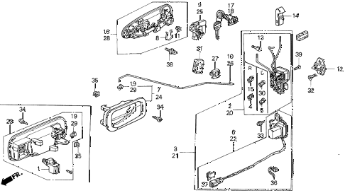 1992 civic EX(ABS) 4 DOOR 4AT FRONT DOOR LOCKS diagram