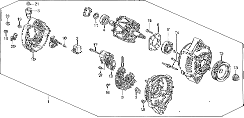 1995 civic EX(ABS) 4 DOOR 5MT ALTERNATOR (DENSO) diagram