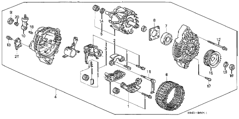 1993 civic DX 4 DOOR 5MT ALTERNATOR (MITSUBISHI) (1) diagram