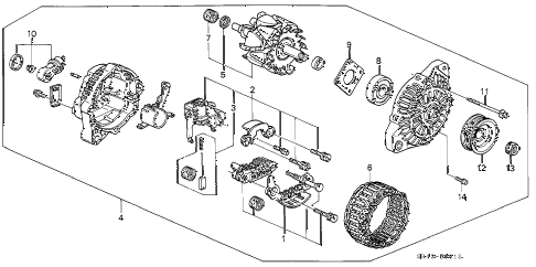 1994 civic DX 4 DOOR 4AT ALTERNATOR (MITSUBISHI) (2) diagram