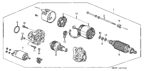 1994 civic LX(ABS) 4 DOOR 5MT STARTER MOTOR (MITSUBA) (1) diagram