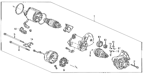 1994 civic DX 4 DOOR 4AT STARTER MOTOR (DENSO) (1) diagram