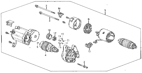 1992 civic DX 4 DOOR 5MT STARTER MOTOR (DENSO) (2) diagram