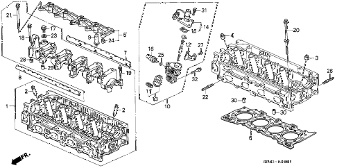 1992 civic EX(ABS) 4 DOOR 4AT CYLINDER HEAD (2) diagram