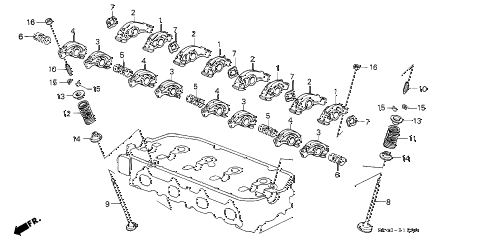 1995 civic DX 4 DOOR 5MT VALVE - ROCKER ARM (1) diagram