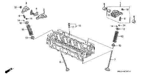 1995 civic EX(ABS) 4 DOOR 5MT VALVE - ROCKER ARM (2) diagram