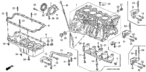 1992 civic DX 4 DOOR 4AT CYLINDER BLOCK - OIL PAN diagram