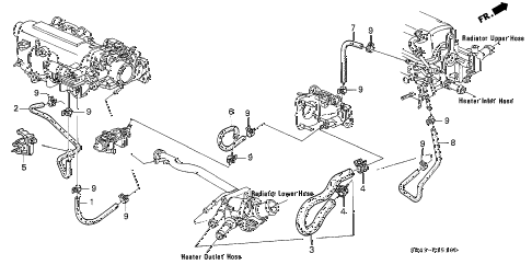 1995 civic DX 4 DOOR 5MT WATER HOSE (1) diagram
