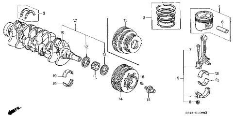 1995 civic LX(ABS) 4 DOOR 5MT CRANKSHAFT - PISTON diagram