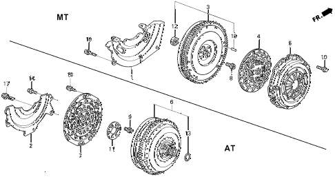 1993 civic EX(ABS) 4 DOOR 5MT CLUTCH - TORQUE CONVERTER diagram