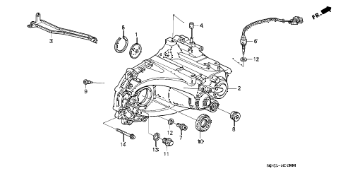 1995 civic LX(ABS) 4 DOOR 5MT MT TRANSMISSION HOUSING diagram