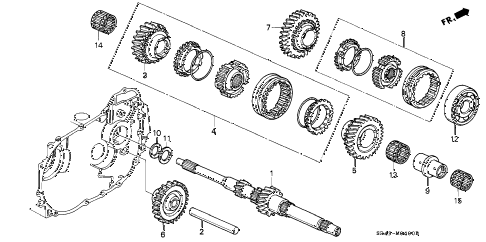 1993 civic DX 4 DOOR 5MT MT MAINSHAFT diagram
