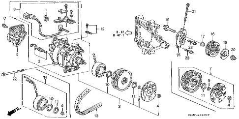 1993 civic DX 4 DOOR 5MT A/C COMPRESSOR (SANDEN) (2) diagram