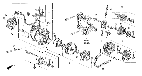 1994 civic DX 4 DOOR 4AT A/C COMPRESSOR (SANDEN) (3) diagram
