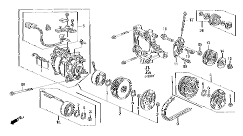 1994 civic DX 4 DOOR 4AT A/C COMPRESSOR (HADSYS) diagram