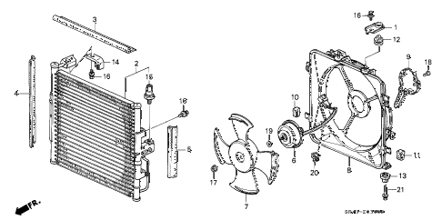 1995 civic DX 4 DOOR 5MT A/C AIR CONDITIONER (CONDENSER) diagram