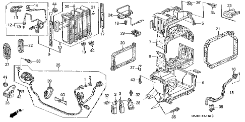 1994 civic LX(ABS) 4 DOOR 5MT A/C UNIT (2) diagram