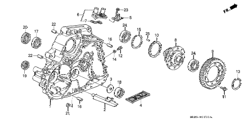 1994 civic EX 2 DOOR 4AT AT TORQUE CONVERTER HOUSING diagram