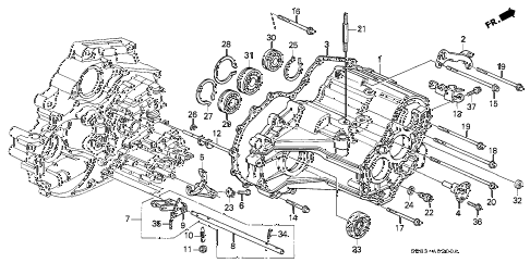 1993 civic EX-S 2 DOOR 4AT AT TRANSMISSION HOUSING diagram