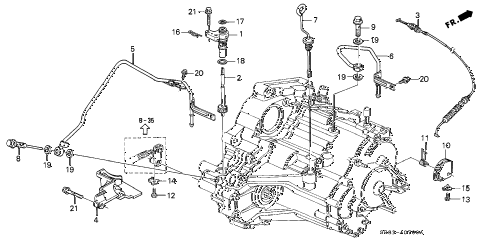 1995 civic EX 2 DOOR 4AT AT CONTROL LEVER diagram