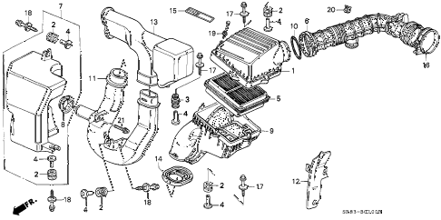 1994 civic DX 2 DOOR 5MT AIR CLEANER diagram
