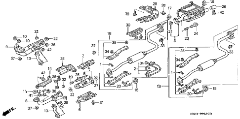 1994 civic DX 2 DOOR 5MT EXHAUST PIPE diagram