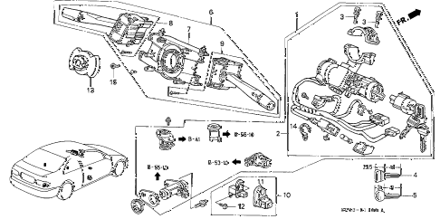 1994 civic EX 2 DOOR 4AT COMBINATION SWITCH diagram