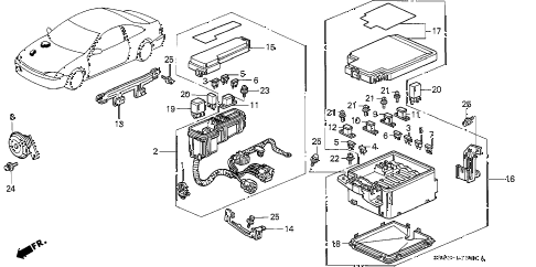 1994 civic DX 2 DOOR 5MT CONTROL UNIT (ENGINE ROOM) diagram